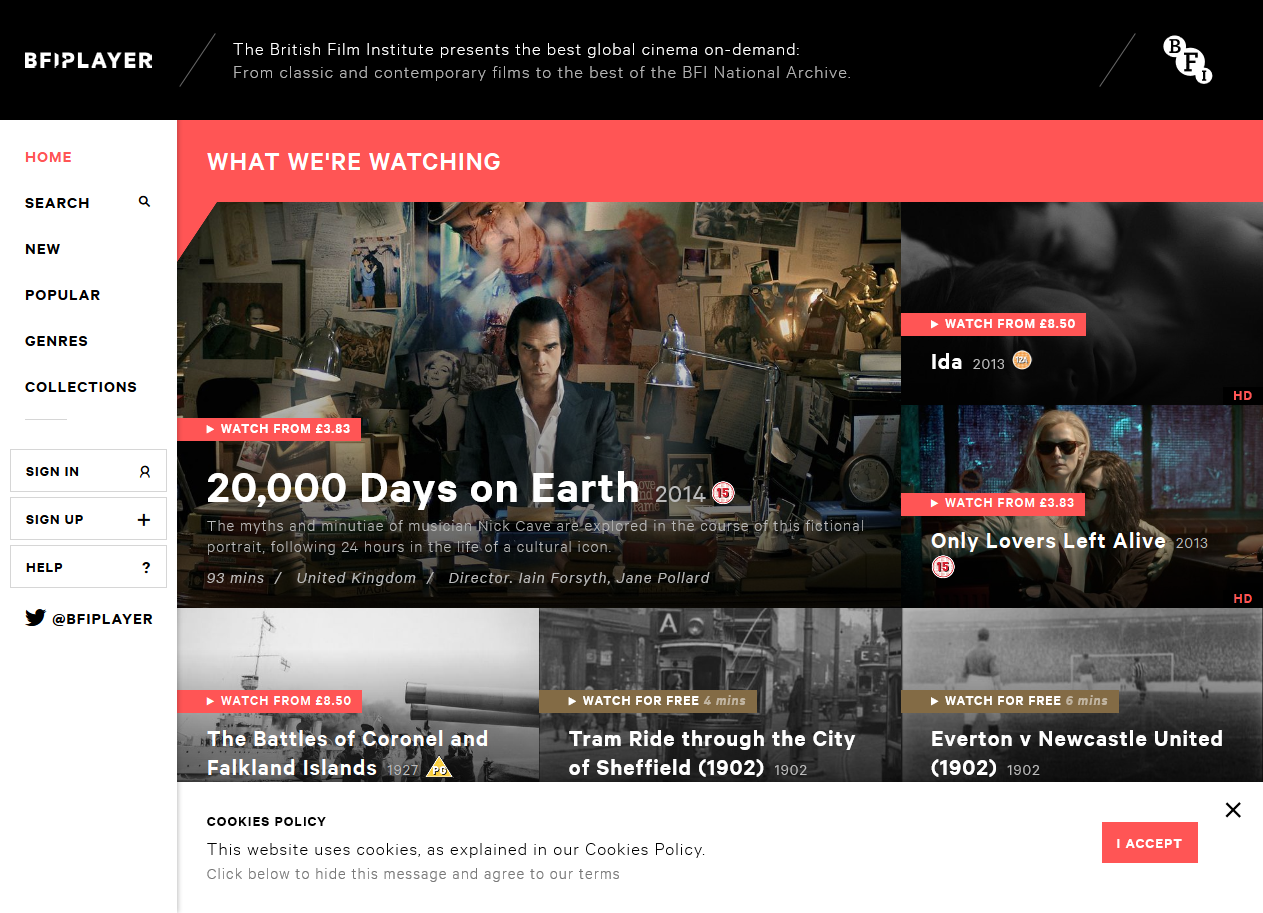 Updated BFI Player